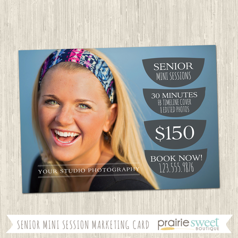 Senior Mini Sessions Crescent Photography Marketing Card Template