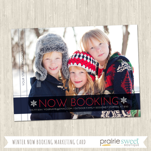Winter Now Booking Photography Marketing Card Template