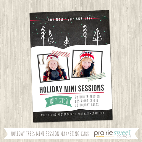 Holiday Trees Photography Marketing Card Template