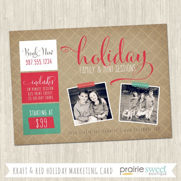 Kraft Holiday Photography Marketing Card Template