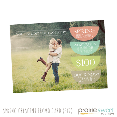 Spring Crescent Mini Session Photography Marketing Card Template