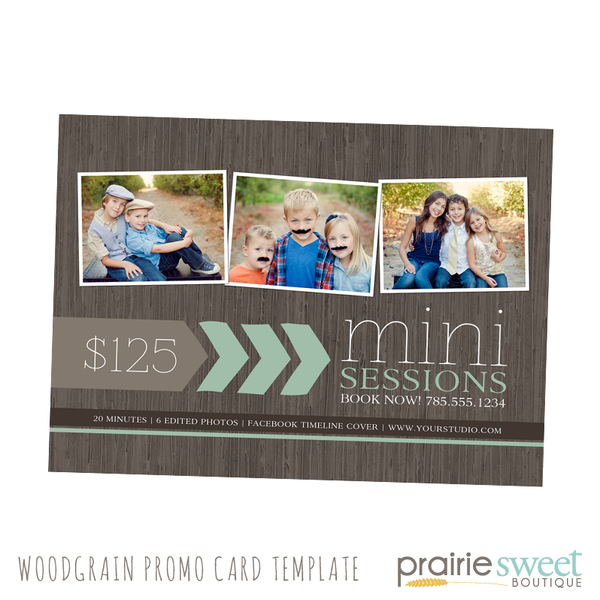 Modern Woodgrain Mini Session Photography Marketing Card Template
