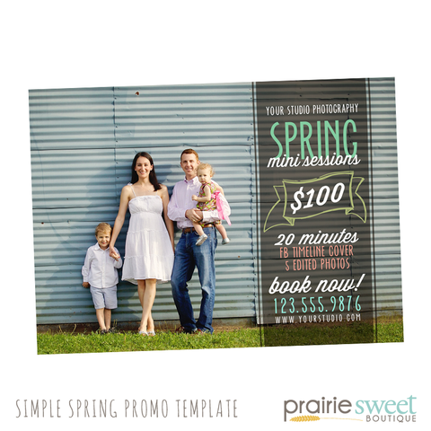 Simple Spring Mini Session Photography Marketing Card Template