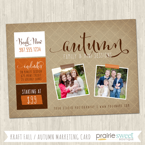 Kraft Autumn Photography Marketing Card Template