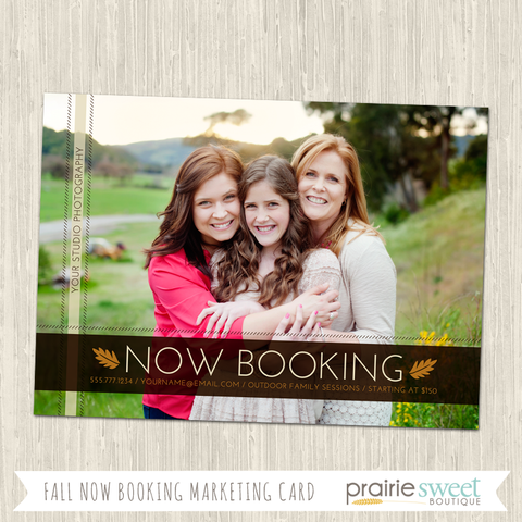 Fall Now Booking Photography Marketing Card Template