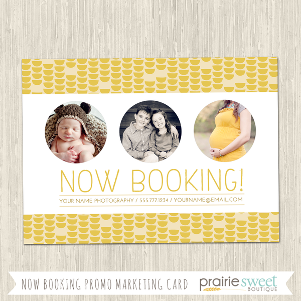 Yellow Now Booking Photography Marketing Card Template