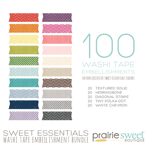 Sweet Essentials Washi Tape Embellishment Bundle