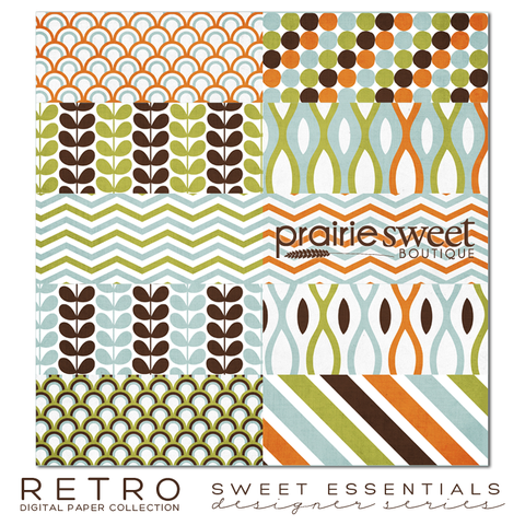 Retro Sweet Essential Designer Series Digital Paper Collection