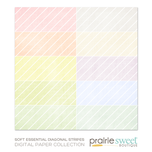 Soft Essential Diagonal Stripes Digital Paper Collection