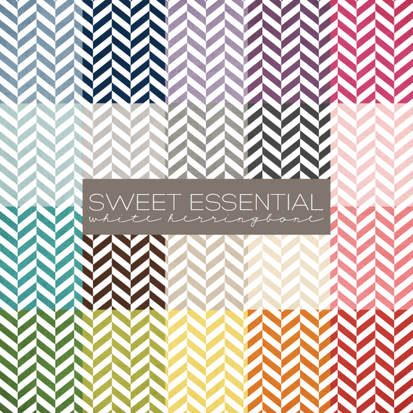 Sweet Essential White Herringbone Digital Paper Collection