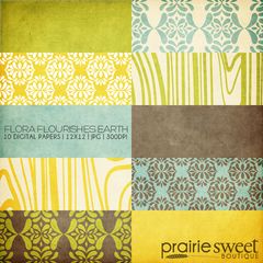 Flora Flourishes Earth Digital Paper Collection