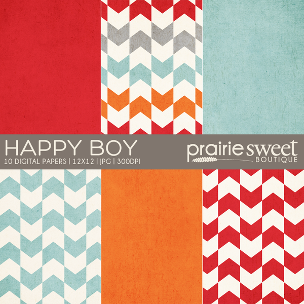 Happy Boy Digital Paper Collection