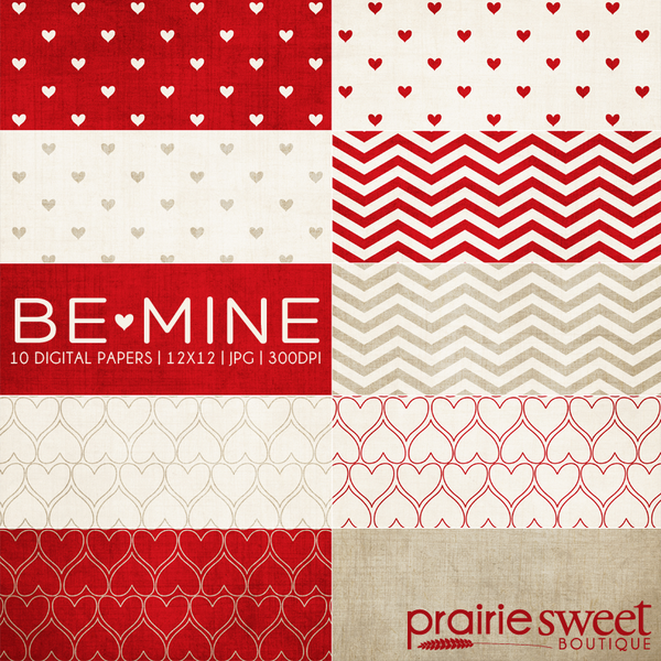 Be Mine Lipstick Digital Paper Collection