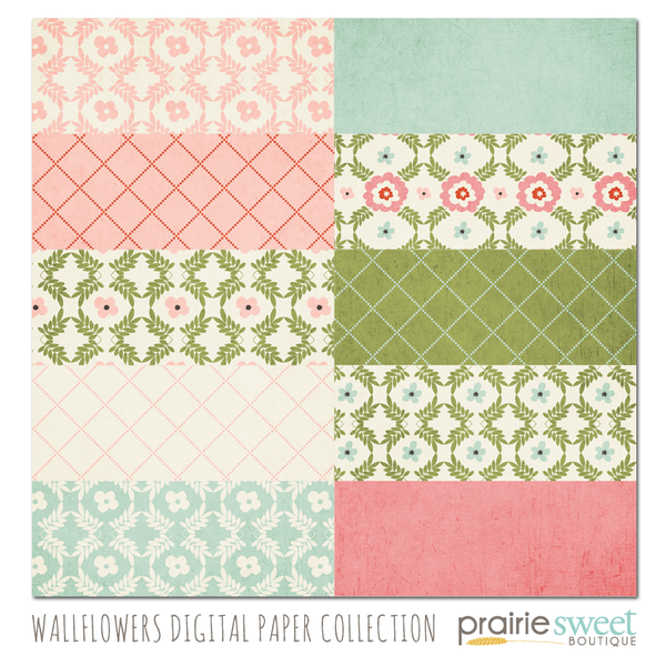 Wallflowers Digital Paper Collection