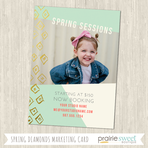 SPRING DIAMONDS Photo Session Marketing Card Template