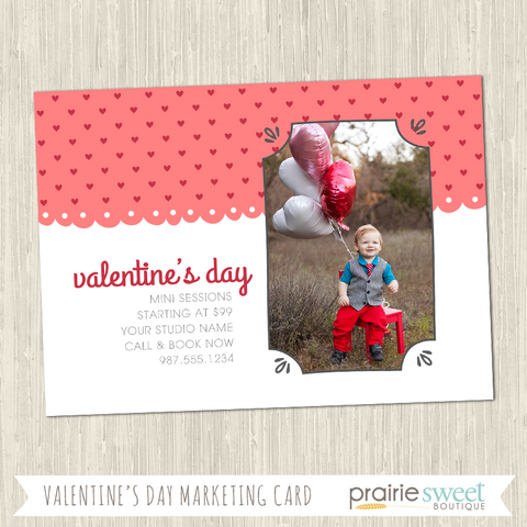 HEARTS Valentine's Day Mini-Session Marketing Card Template