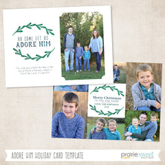 Adore Him | Wintergreen Holiday Card Template