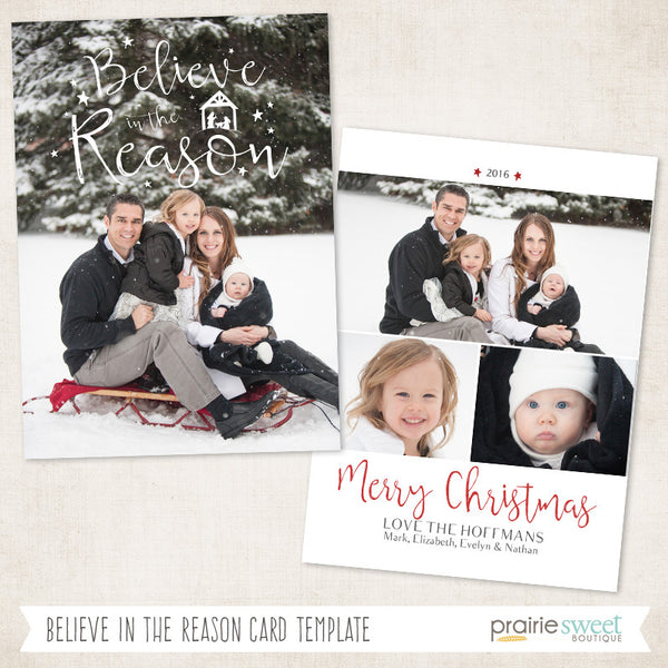 Believe | Very Merry Holiday Card Template
