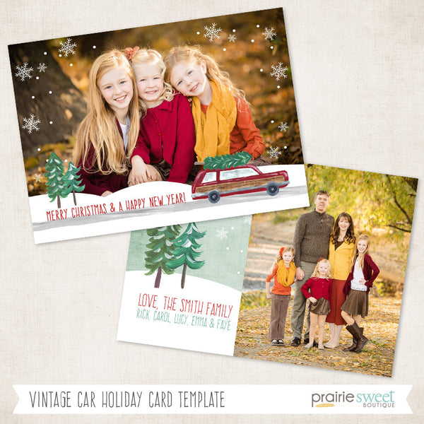 Car | Home For Christmas Holiday Card Template