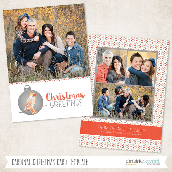 Cardinal Card | All is Calm Holiday Card Template