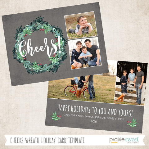 Cheers Wreath | Wintergreen Holiday Card Template