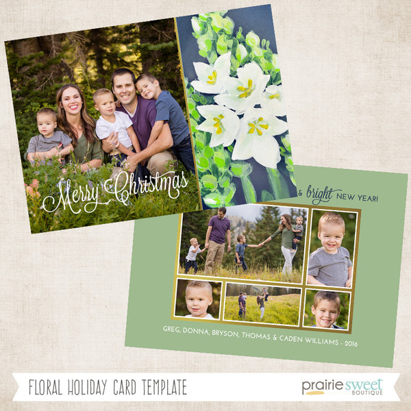 Floral | Wintergreen Holiday Card Template