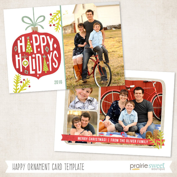 Happy Ornament | Wonderful Life Holiday Card Template