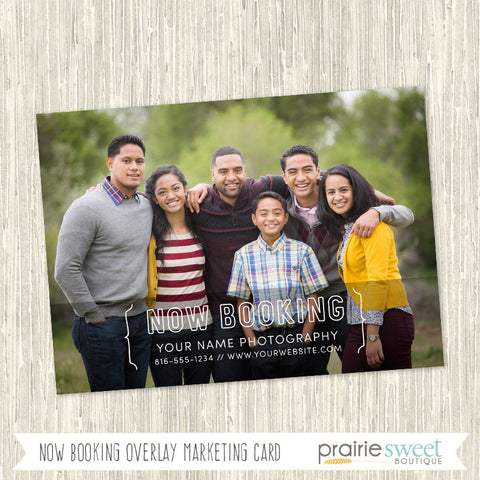 Now Booking Photography Marketing Card Template