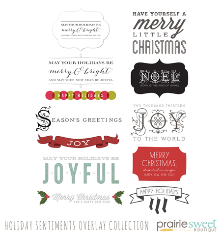 Holiday Sentiment Overlays Collection
