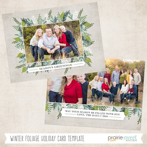 Winter Foliage | Wintergreen Holiday Card Template