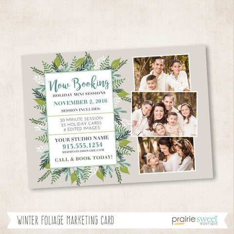 Winter Foliage Marketing Card Template