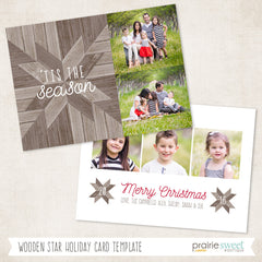 Wooden Star | Home For Christmas Holiday Card Template