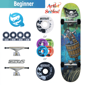 SkateXS Pirate Beginner Skateboard for Kids