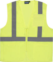 S363P ANSI Class 2 Hi-Viz Vest Mesh Economy with Pockets Lime 61647