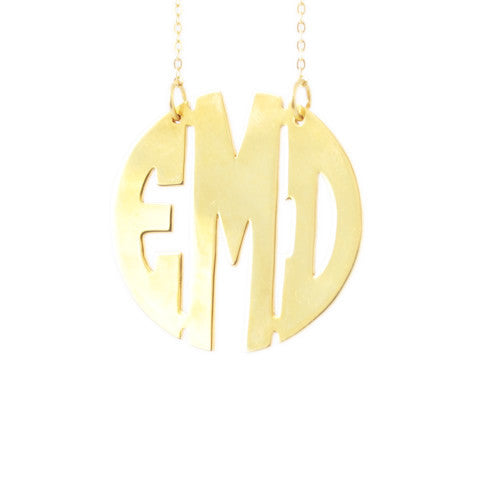GLAM BLOCK MONOGRAM NECKLACE - LARGE