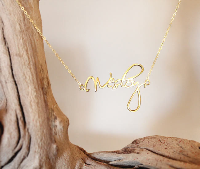 CURSIVE SIGNATURE CUSTOM NAMEPLATE NECKLACE