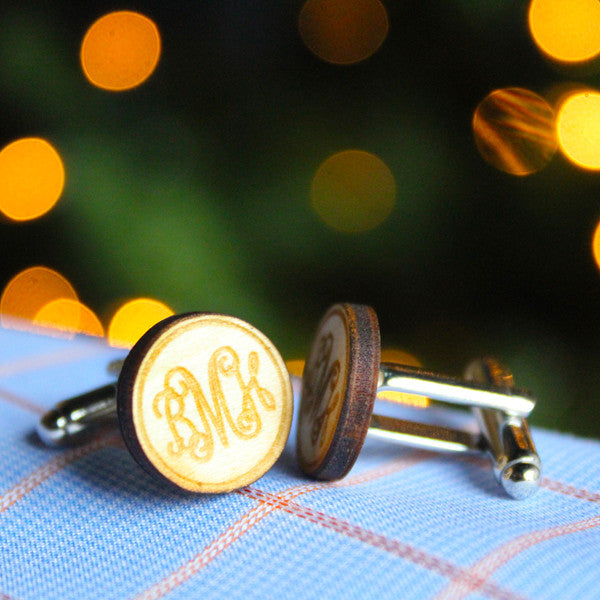 Custom Monogram Wood Cufflinks