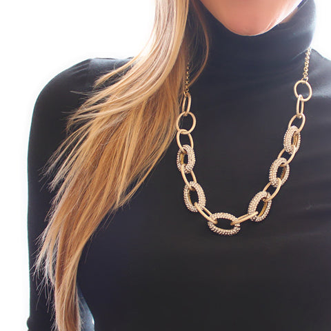 Gold Link Pave Necklace