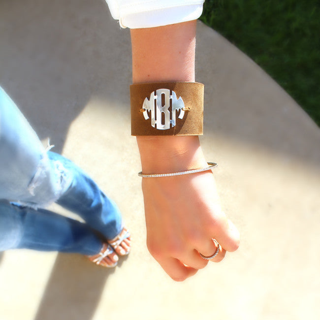 Block Monogram Leather Cuff Bracelet