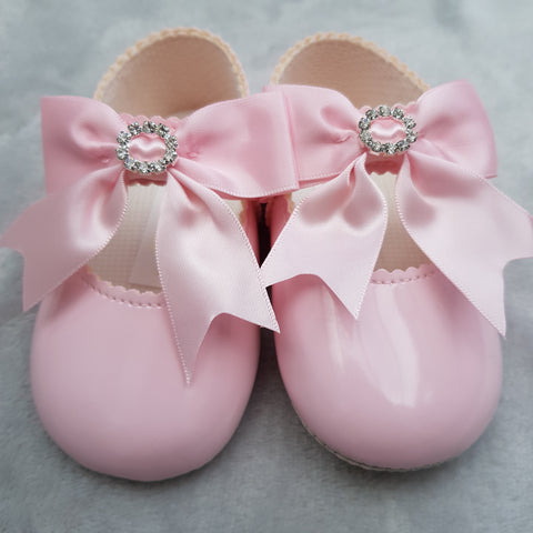 Pink Diamante Bow Pram Shoes - Sienna's Spanish Baby