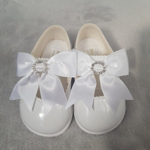 White Diamante Bow Shoes (Hard Sole) - Sienna's Spanish Baby