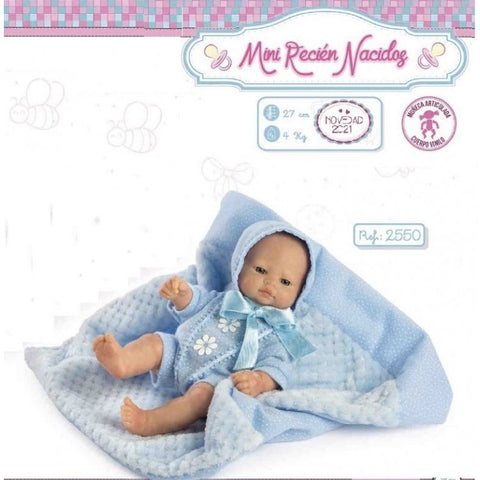 27cm Small Baby Blue Doll with Blanket