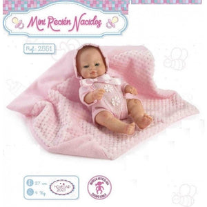 27cm Small Baby Pink Doll with Blanket