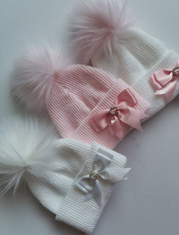 Diamanté Bow Pom Hats - Sienna's Spanish Baby