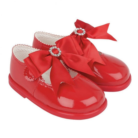 Red Diamante Bow Shoes (Hard Sole) - Sienna's Spanish Baby