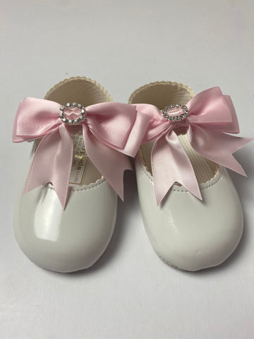 Pink Diamanté Bow White Pram Shoes