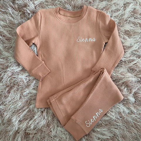 Personalised Ribbed Loungewear Set