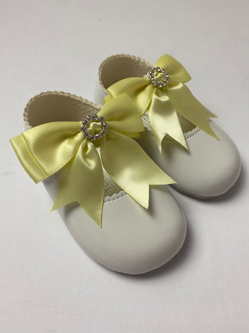 Yellow Diamanté Bow White Pram Shoes