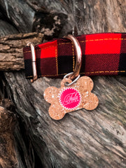 Holiday Homies Tula Pink Dog Collar - Red Check Yo Self