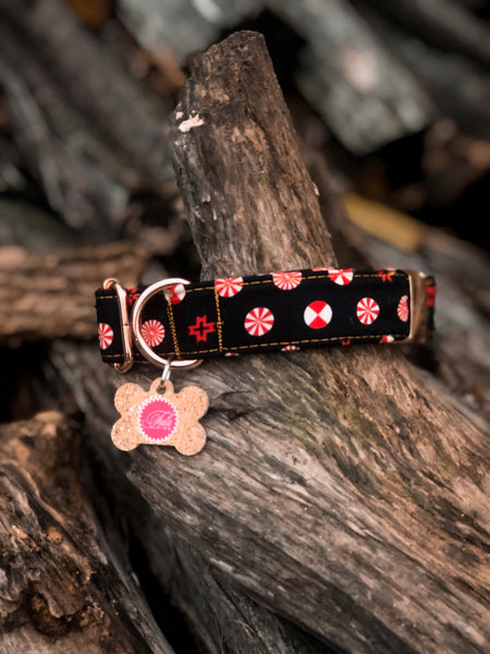 Holiday Homies Tula Pink Dog Collar - Peppermint Stars